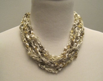 Pretty Variegated Shades of Olive Green and White Crochet Necklace