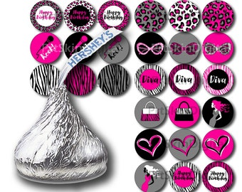 Diva Party Hershey Kiss Stickers, Printable Stickers, Girl Birthday Party Hershey Kiss Labels, Happy Birthday Stickers, Glamour Party, Spa