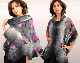 This Addition dresses, gray amaranth, Nuno felted silk shawl withe merino wool, flowers