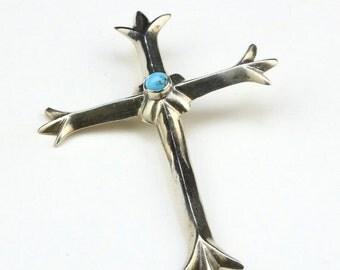 VALENTINE SALE Vintage Navajo Sand Cast Cross Pendant Sterling Silver Turquoise Southwestern