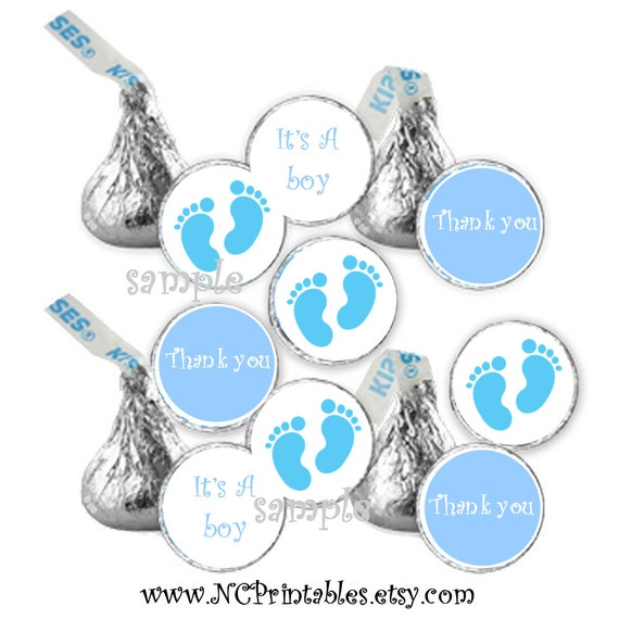baby shower favors boy light blue feet  candy stickers (108)