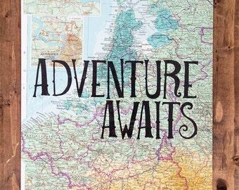"Europe Map Print, Adventure Awaits, Great Travel Gift, 8"" x 10"" Letterpress Print"