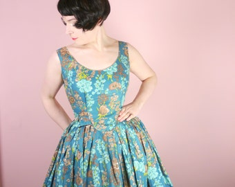 50s blue and brown FLORAL dress - very full skirt - romantic ROCKABILLY Mid Century cotton day dress uk10 / S / Small