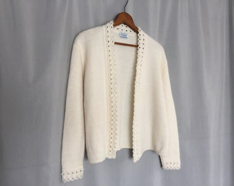 Cream Cardigan Sweater Vintage Women's Small or Medium