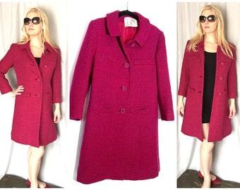Pink Coat Magenta Tweed Vintage Peck and Peck Dress Coat Long Jacket Women's SMALL