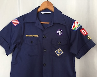 Vintage Boyscout Uniform Shirt Navy Blue Cubscouts size Youth Medium