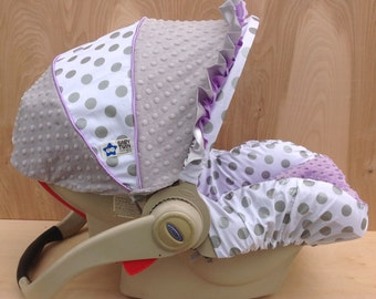Infant Car Seat Cover- Silver Dots/ Lavender