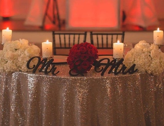 Elegant Script Mr & Mrs Wood Signs For Head Table At Wedding