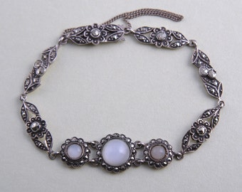 Silver 1920's Bracelet With Marcasite And Moonstones (929q)