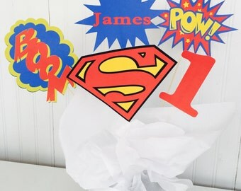 5 Piece Superman Centerpiece, Superhero Centerpiece, Superman Birthday Decor, Cake Topper, Superhero Birthday Decor