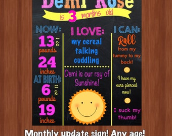 Monthly Update Sign - DIGITAL - 3 Month Old Update Sign - Any Age! - Monthly Milestones - Milestone Poster - Our Little Sunshine - Sunshine