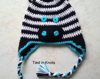 Zebra Hat - Crochet Zebra Hat - Blue Zebra Hat - Purple Zebra Hat - Zebra Hat for boys - Baby Zebra Hat - Black and White hat - Winter hat
