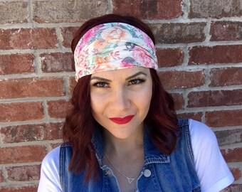 Ivory Cream Floral Headwrap Headband OR Turban, Women's Headband, Fabric Headwrap