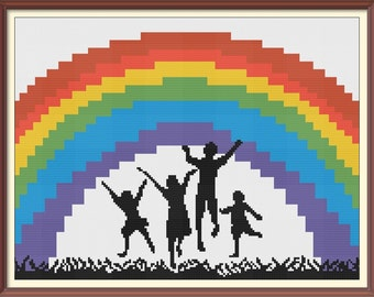 Rainbow Children 2 Counted Cross Stitch Pattern PDF Chart Black Silhouette Colorful Pattern