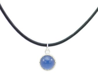Sterling Silver Mood Color Changing Necklace 10mm on Leather Cord