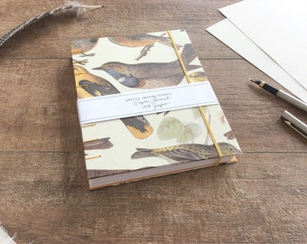 Blank Journal or Artists Sketchbook, Hand Stitched Notebook with Bird Print Design