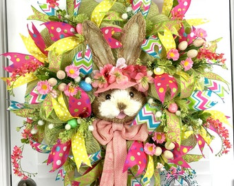 Deco Mesh Easter Bunny Wreath - Spring Bunny Wreath - Easter Eggs - Easter Wreath - Bunny Wreath - Spring Wreath - Spring Easter Wreath