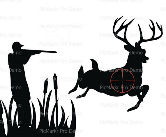 Hunter Hunting Silhouette Birthday - Edible Cake and Cupcake Topper For Birthday's and Parties! - D20630