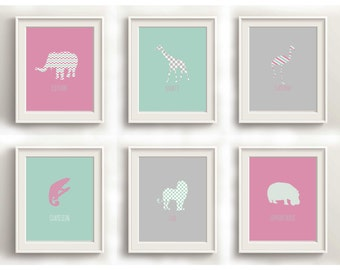 Baby Animal Prints, Nursery Wall Art, Nursery Prints Girl, Nursery Print Set, Nursery Wall Art Animals, Animal Art Print Kids, Flamingo Art