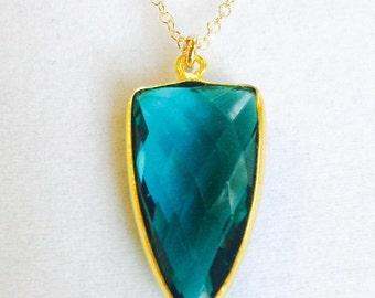 Radiant Teal Apatite Gemstone Necklace,14K Gold Filled Necklace,24K Gold Vermeil Bezel,Brilliant Faceted Teal Arrowhead,Christmas Gift