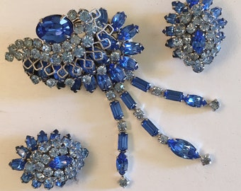Dazzling Vintage Blue Rhinestone Dangling Brooch and Earring Set Demi Parure