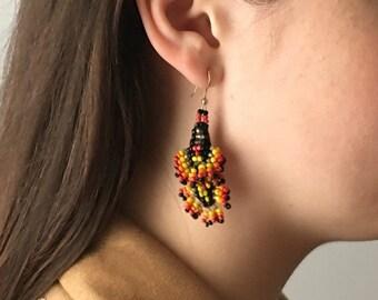 Native American Earrings, Beadwork Earrings, Statement Earrings, Boho Earrings, Festival Style, Colorful Earrings