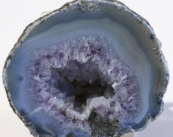 Beautiful Polished Ribbon Banded Amethyst Agate Geode Half
