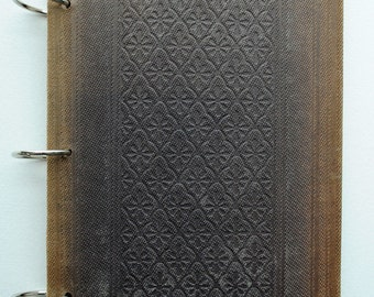 Vintage Altered Book Journal with Engraved Brown Cover