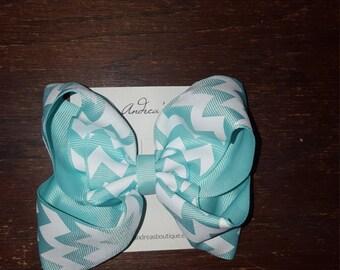 Chevron Blue Boutique Style Hair Bow