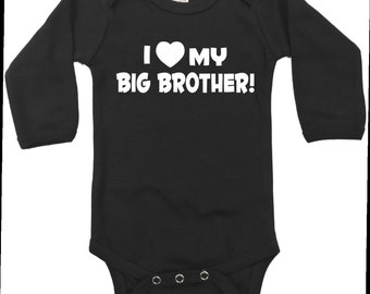 I love my big brother baby infant bodysuit long sleeved little sister or brother sibling size and color choice new