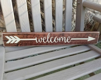 Welcome Sign, Arrow Welcome Sign, Rustic Wooden Arrow Sign, Rustic Home Decor