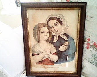 The SISTERS PRAYER 1870s CURRIER & Ives  Hand Colored  Rare