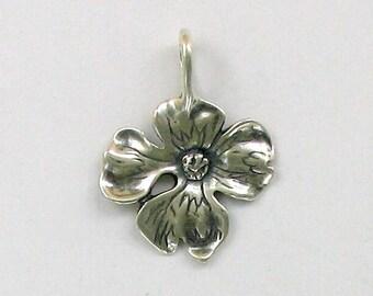 925 Sterling Silver Dogwood Flower Pendant - 50