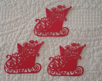 Holiday Sleigh Die-Cuts in Red -- Set of 3
