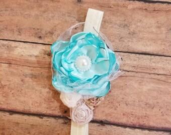 Baby Blue and ivory lace baby headband, toddler headband, vintage style headband,