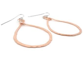 Hammered copper hoop earrings