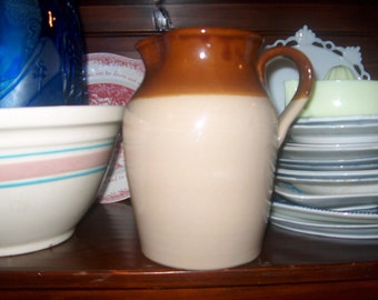 Vintage Stoneware Pitcher, England, Pearson's of Chesterfield, Primitive, WAS 40.00 - 25% = 30.00