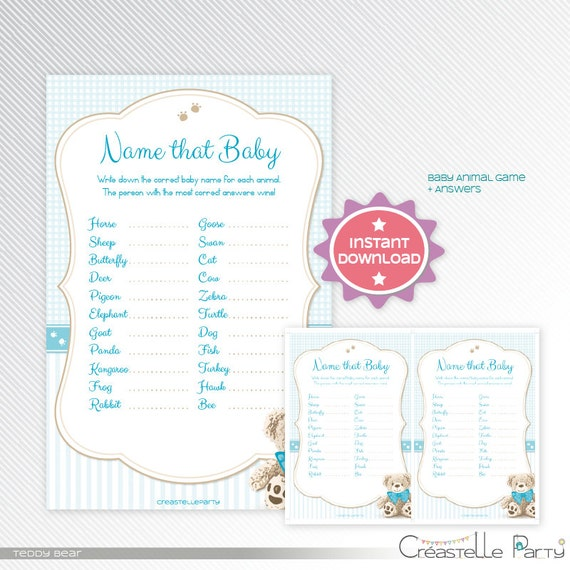 Blue Teddy Bear Baby Animal Names Game Baby Shower Printable Game
