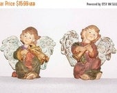 CIJ SALE 10% Off Christmas Angel Cherub Christmas Holiday Home Decor Vintage Set of 2 Figurines