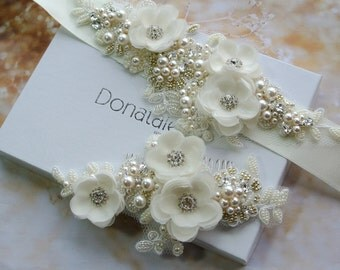 Wedding Hair Flowers Wedding Hair Piece Ivory Bridal Headpiece Bridal Hair Comb Wedding Sash Wedding belt Bridal Sash - ISABELLE