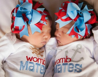 Baby boy girl womb mates twins anchor Nautical embroidered outfits baby shower gift set gender neutral