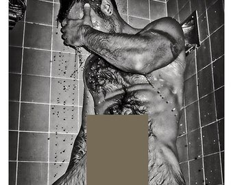 Mature content gay interest 6 x 4 printed repro real photo close up nude guy taking a shower lots of wet body hair 99p download .png file