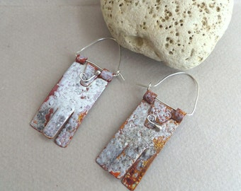 Torch fired enamel copper earrings and sterling silver - Artisan Jewelry by Emilia-M