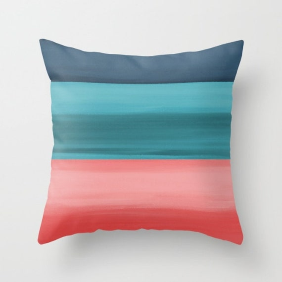 Decorative Pillow Cover Throw Pillow Cover Coral Navy Teal