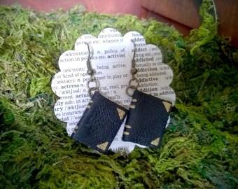 Leather Book Earrings