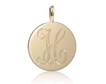 14k gold initial disc charm, personalize charm, script font charm, personalized initial disc, mini disc charm, round charm, per-c101