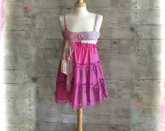 Pink Sunshine Shabby Antique crochet yoke Mori sherbet Victorian tiered ribbon lace floral Boho altered Clothing mini dress top cami tunic