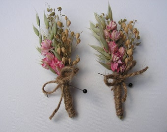 Rustic Dried Boutonnieres, Wedding Boutonnieres, Dried Flower Buttonhole, Burlap Boutonnieres, Men's Accessories, Flower Corsage