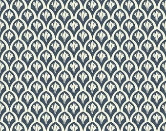 "Sale 15% Off Riley Blake Designs ""Vintage Verona"" by Emily Taylor Design/ Scales-Navy"