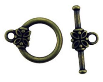 Antique Brass Toggle 14mm (Pkg of 10 sets)  (911AB-58)